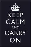 Keep Calm and Carry On (Motivational, Dark Blue) Art Poster Mounted Print