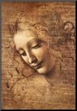 Leonardo Da Vinci (Female Head, La Scapigliata) Art Poster Print Art Poster Print Kunst op hout