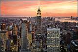 New York City (Empire State Building, Sunset) Art Poster Print Mounted Print