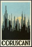Coruscant Retro Travel Mounted Print