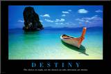 Destiny Boat on Beach Motivational Poster Mounted Print