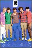 One Direction Signatures Blue Mounted Print