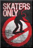 Skaters Only (Skating on Sign) Art Poster Print Mounted Print