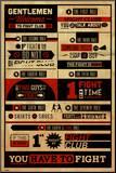 Fight Club - Rules Druck aufgezogen auf Holzplatte