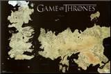 Game of Thrones Horizontal Map Druck aufgezogen auf Holzplatte