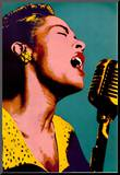 Billie Holiday Blue Pop Art Music Poster Mounted Print