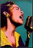 Billie Holiday Blue Pop Art Music Poster Mounted Print