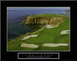 Challenge: Golf Druck aufgezogen auf Holzplatte