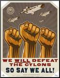 Battlestar Galactica We Will Defeat The Cylons TV Mounted Print
