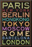 Cities of the World Colorful RetroMetro Travel Poster Mounted Print
