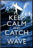 Keep Calm and Catch a Wave Surfing Poster Mounted Print
