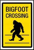 Bigfoot Crossing Sign Art Poster Print Mounted Print