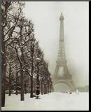 Paris In The Snow (Eiffel Tower) Art Poster Print Mounted Print