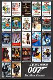 James Bond - 22 Movie Posters Mounted Print