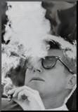 President John F Kennedy Smoking Archival Photo Poster Print Mounted Print