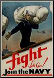 Fight Let's Go Join the Navy WWII War Propaganda Art Print Poster Mounted Print