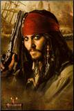 Pirates of the Caribbean 2 Movie Johnny Depp Holding Gun Mounted Print