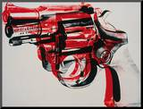 Gun, circa 1981-82, black and red on white Stampa montata di Andy Warhol