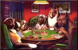 Poker spelende honden Kunstdruk geperst op hout