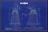 Doctor Who - Dalek Blue Prints Umocowany wydruk