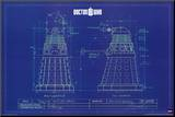 Doctor Who - Dalek Blue Prints Mounted Print