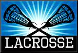 Lacrosse Blue Sports Poster Print Mounted Print