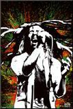 Bob Marley na tle rozpryśniętej farby Umocowany wydruk