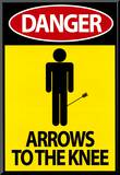 Danger - Arrows To The Knee Video Game Poster Mounted Print
