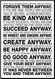 Mother Teresa Anyway Quote Poster Mounted Print