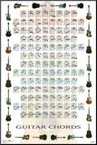 Guitar Chords Learn to Play Print Music Poster Impressão montada