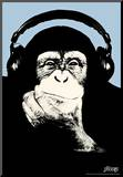 Steez Headphone Chimp - Blue Art Poster Print Impressão montada