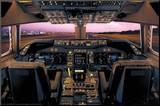 Boeing 747-400 Flight Deck Kunst op hout