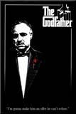 Filmposter uit The Godfather met Engels citaat Kunstdruk geperst op hout