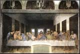 Das letzte Abendmahl Druck aufgezogen auf Holzplatte von  Leonardo da Vinci