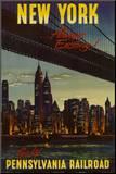 Nova York pela ferrovia Pensilvânia, em inglês Impressão montada