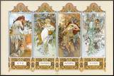 The Four Seasons Mounted Print by Alphonse Mucha