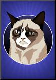 Grumpy Cat Cartoon Mounted Print