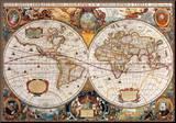 Mapa świata w XVII wieku Umocowany wydruk