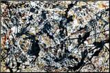 Zilver op zwart Kunstdruk geperst op hout van Jackson Pollock