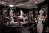 Java Dreams: Presley, Monroe, Bogart und Dean beim Billard Druck aufgezogen auf Holzplatte von Chris Consani