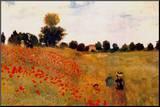 Mohnblumen Druck aufgezogen auf Holzplatte von Claude Monet