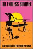 Eindeloze zomer, poster met surfers en Engelse tekst: Endless Summer Kunstdruk geperst op hout