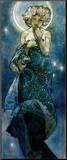 The Moon Mounted Print by Alphonse Mucha