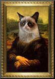 Grumpy Cat Mona Lisa Mounted Print