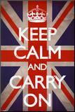 Keep Calm and Carry On (Motivational, Union Jack Flag) Reprodukce aplikovaná na dřevěnou desku