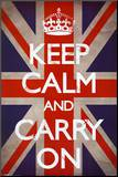 Keep Calm and Carry On (Motivational, Union Jack Flag) Mounted Print