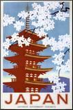 Japonsko Reprodukce aplikovaná na dřevěnou desku