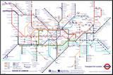 Kaart Londense metro, London Underground Map Kunstdruk geperst op hout