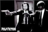 Pulp Fiction –  Duo with Guns (Jackson and Travolta) B & W Movie Poster Umocowany wydruk