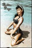 Bettie Page - In the Sand Mounted Print